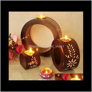 Décor Home & Garden Drop Delivery 2021 Rotary Metal European Style Romantic Candle Holders With Heart Star Pendant For Dinner Birthday Party