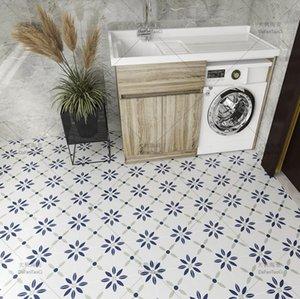 Restaurant small flower tiles 200 * 200mm Mosaic European style kitchen balcony blue flowers Hotel simple floor tile