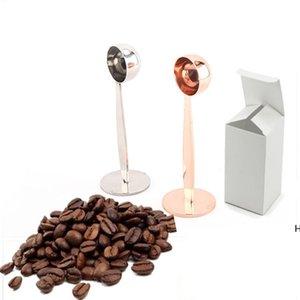 Dual-Zweck Espresso-Kaffee-Bohnen-Pulver-Löffel Messschaufel Kaffee-Tamper-Tool-Edelstahl-Kaffee-Zubehör DHF6218