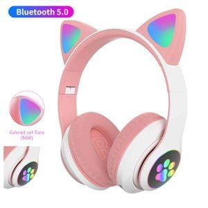 Hermosa luz flash Gato Orejas de gato Bluetooth auricular inalámbrico con micrófono puede controlar el auricular de casco de música estéreo infantil del teléfono