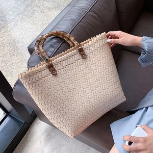 Casual Rattan Women Handbags Bamboo Handle Wicker Woven Hand Bag Summer Beach Big Straw Bag Lady Large Totes Female Travel Sac