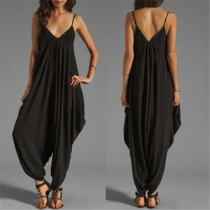 Casual, sleeveless female from a solid, long, sexy deep overalls with low-cut v plus size summer spaghetti strap heels suit