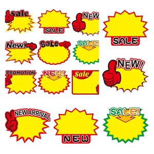 Promotion Tag Label Paper Price Card Explosion Shaped Pricing Ticket Display Advertising Banner Labels Tags Offer Poster 50bag T10I55