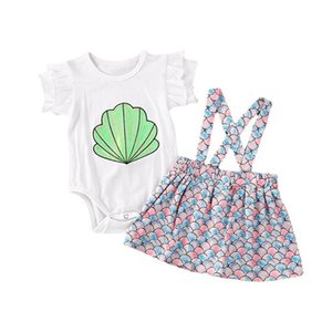 Kids Clothing Sets Girl Suit Outfits Baby Clothes Children Wear Summer Mermaid Cotton Short Sleeve Rompers Suspenders Skirts Dress 2Pcs 1-3T B4950