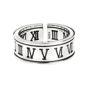 925 Sterling Silver Roman Numeral Ring Hip Hop Men And Women The Same Ins Niche Street Wild Fashion Trendy Brand Jewelry