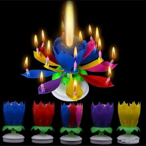 Spin Musical Candle Happy Birthday Cake Candle Light Lotus Flower Music Candles Christmas Festival Wedding Party DIY Cake Decoration Kids Gift