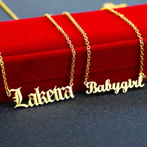 Wholale Jewelry 14k 18k 24k Letter Pendant Sier Custom My Stainls Steel Personalized Gold Name Plate Necklace Personalised