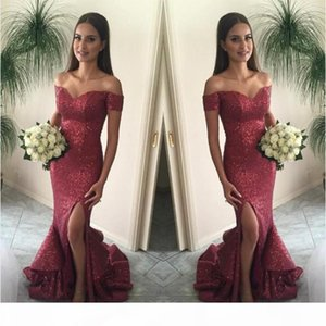 2020 Cranberry Mermaid Prom Dresses Off the Shoulder Split Front Sparkling Sequin Evening Gown Sexy Burgundy Tired Skirts Court Train BA1066