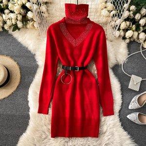 Gagarich Femmes robe tricotée automne hiver 2021 Design Faux chauds Deux Turtleneck Slim Court Fond Vestidos Sexy Robes décontractées