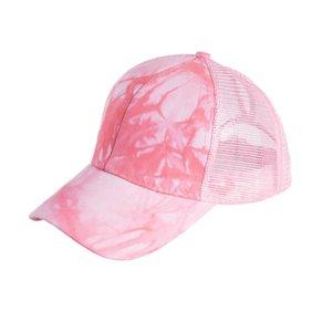 2021 acid wash ponytail baseball caps female summer outdoor sunscreen net cap solid color cap custom XY403