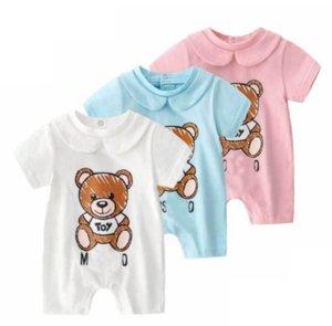 Neonati per bambini Rompere Baby Boys Colletto rotondo Stripe Stripe manica corta tutesuiti bambini bambini morbidi pannolini di cotone vestiti adatti 0-24m