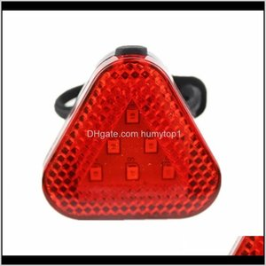 Lights Triangle Bike Warning Taillight Safety Waterproof Cycling Red Flash Light Bicycle Rear Lamp With Button Battery X3Cct 9Sbdh