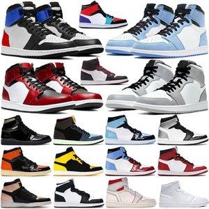 High University Blue 1 Basketball shoes 1s Dark Mocha Electro Orange UNC Light Smoke Grey Hyper Chicago bred royal Silver Toe Shadow Twist men women running sneakers