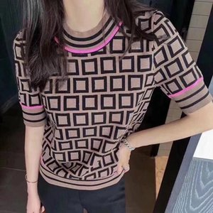 2021 New Women Panelled Letter Print Sleeve Short Woman Tees Mature Ins Trendy Women Knits Lady Top Spring Summer Fashion T-shirt Clothes