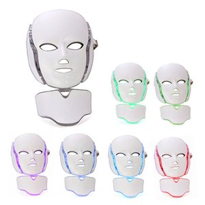 LED 7 Color Light Therapy Face Beauty Device Photon Skin Rejuvenation Whitening Mask With Neck Cover Wrinkle Remove Shrink Pores