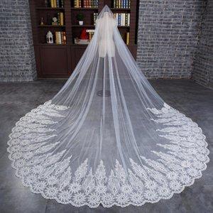 Bridal Weiols 2021 4 м Один слой длинная вуаль с гребенью тюль из бисера кружева кромки по краям собора свадебные кристалл аксессуары