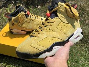 Nuove Donne da uomo con scatola 6s Scarpe da basket Travis Scotts 6 scarpe atletiche gialle Sport di alta qualità Spazzanette all'aperto Sneakers