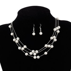 Imitation Pearl Jewelry Set Simulated Pearl Double Layer Women Earrings Necklace Bracelet Sets for Wedding 70 N2