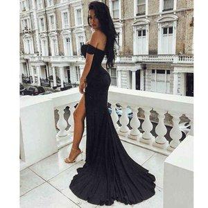 Sexy Black Red Off Shoulder Bridesmaid Tight Packet Hips Slash Neck High Split Wedding Backless Zipper Stretch Dress