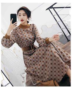 2019 Autumn Winter New Fashion Vestidos Women Elegant Vintage Office Print Profession Slim Long Dress S-2XL with Belt S-XL