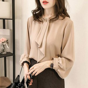Women's Blouses & Shirts Shein Women Blouse Elegante Fashion O-Neck Casual Tops Chiffon Tie Solid Shirts#Y3