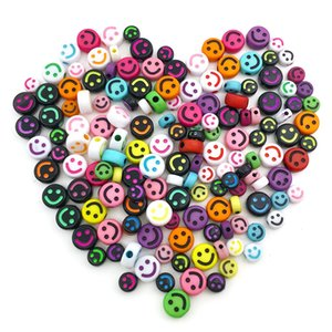 1000pcs set smiling face Acrylic loose beads Jewelry making component Cartoon round flat plastic colorful bead