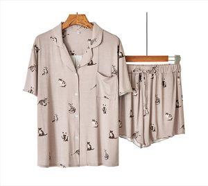 2pcs Pajamas Cartoon Set Womens Sleepwears Casual Modal Shirt Amp Shorts Cute Nightwear Intimate Lingerie Soft Homewear
