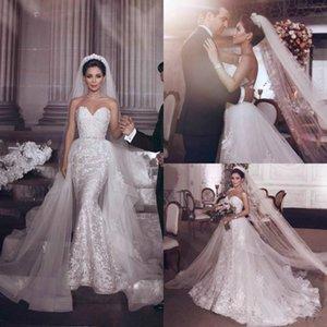 Bling Saudi Arabia Русалка Свадебные платья Съемная юбка 2021 Милая Бисером Кристалл Плюс Размер Корсет Сад Страна Свадебные платья