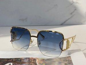 Kadınlar için Güneş Gözlüğü Yaz Stil 2093 Anti-Ultraviyole Retro Plaka Kare Metal Yarım Çerçeve Moda Gözlükler Rastgele Kutu