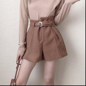 Womens Shorts Woolen Belt Warm Women Autumn Winter Thicken Fashion High Waist Wide Leg Boots Girls Elegant Short Trousers