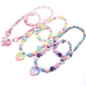 Moda cuore ciondoli perline perline collana braccialetto colorato ragazze bambini ribaltato gioielli set regali bambino adorabile bambino regali
