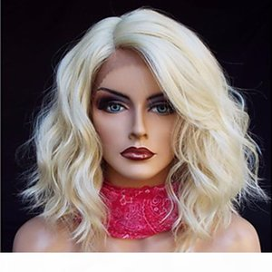 Lace Front Synthetic Wigs Body Wave Short Bob Wig 613 Blonde Wigs Pre Plucked With Baby Hair Lace Front Wig