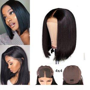 Unprocessed Brazilian Human Hair Bob Lace Closure Frontal Wig 4x4 Short Bob Wigs Grade 9A Brazilian Straight Hair 150% Density Wigs