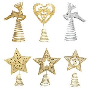 Arbres de Noël Top Toppers Toppers Heart Elk Topper Gold Argent Argent Ornement d'arbre de Noël pour la décoration de la milleteuse à la maison