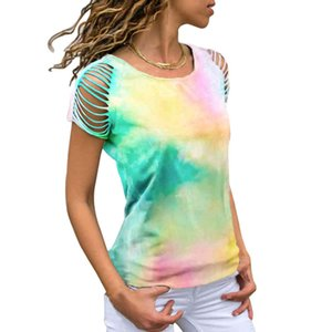 Neck Wholesale High quality Tie Summer Girls Round Dye Printing Short Sleeve Women Casual T Shirt