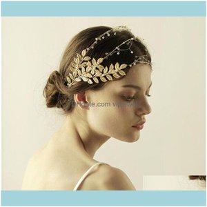 Jewelrywholesale Wedding Bridal Leaf Headband Crown Tiara Gold Crystal Rhinestone Headpiece Hair Aessories Jewelry Prom Headdress Baroque Dr