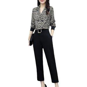 Women's Tracksuits Autumn Women Design Print Top Blouse Black Pants Outfit Big Yards Two-Piece Woman'S Wear Western Style Suits Korea Fashio