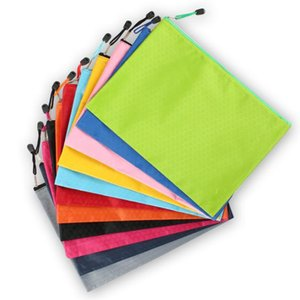 11 Colors Waterproof A4 Football pattern canvas Pencil bags File pocket Pure Color multifunctional stationery bag SN5358