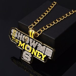 Fashion Hip Hop Letter Jewelry Iced Out Show Me The Money Pendant Pave Bling Zircon Luxury Long Chain Rapper Necklaces