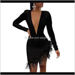 캐주얼 드레스 여자 의류 의류 드롭 배달 2021 여성 파티 메쉬 패치 워크 블랙 드레스 섹시한 솔리드 긴 소매 깃털 깊은 VNECK
