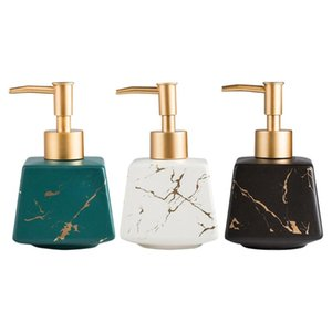 Liquid Soap Dispenser Bathroom Ceramic Lotion Marble Appearance 260ml Shampoo Pump Bottle Refillable