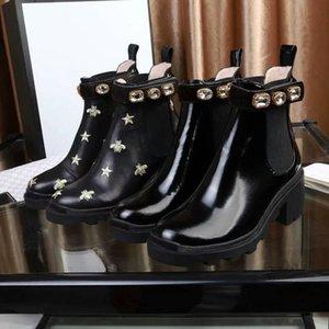 Designer Women Boots Desert Martin Shoes Flamingos Love Arrow Leather Boot Female Rough Heel Round Head Shoe Non-Slip Winter Ankle Booties
