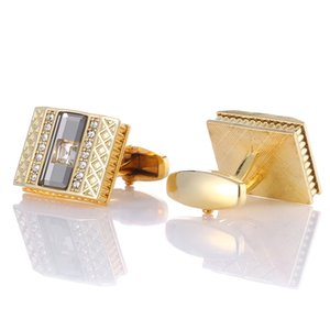 Gold Cufflinks for Mens Buttons Crystal Luxury High Quality Shirt Cuff links Wedding Gifts Cuffs With Box Men Jewelry