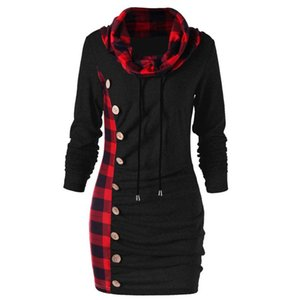 Fashion Women Winter Dress Plaid Scarf Collar Buttons Decoration Patchwork Casual Party Dresses Long Sleeve Ladies 2021