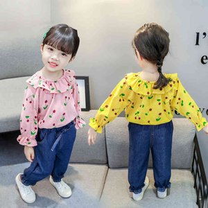 Kids Cherry Tshirt + Jeans For Girls Casual Style Children's Clothes 210412