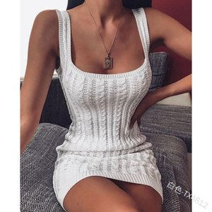 Women Bodycon Knit Sleeveless Slim Solid Color Elegant Short Mini Dress Evening Party Gown Sundress Casual Dresses