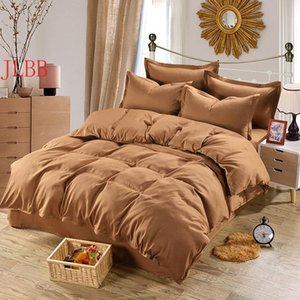 Bedding Sets Home Textile Coffee Set 100% Microfiber Duvet Cover 4pcs Bed Solid Twin Full Queen King Size Bedclothes Adult Sheet