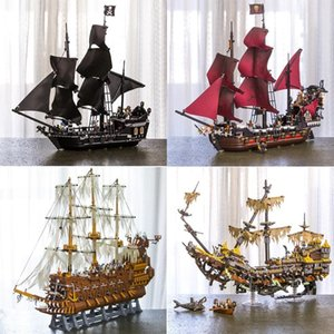 In Stock 16002 16006 16009 16016 16042 22001 Movie Series Pirates Of Caribbean Ships Models Toys Building Blocks Bricks 70618 Y200428