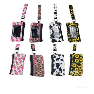 Sunflower Leopard Cow Flower MultiFunction Neoprene Passport Cover ID Card Holder Wristlets Clutch Coin Wallet With Keychain T2I51829