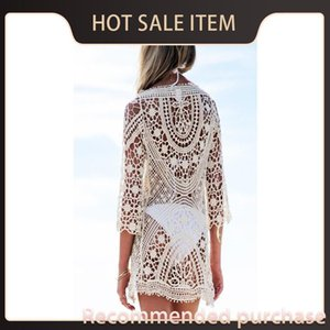 Bikini Hollow Cover Lace Cover Sexy Summer Long Lace Beach Women Crochet Sleeve Beach Swimwear Out Ups Plumblossom Women Ups Ldfgi